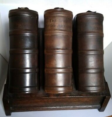 Super rare Doulton Lambeth stoneware complete Book flask set!