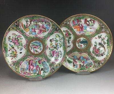 A pair of fine Chinese 19C rose medallion plates-Daoguang