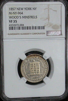 1857 New York NY NGC VF35 M-NY-964 Woods Minstrels Store Card Token (tg1120)