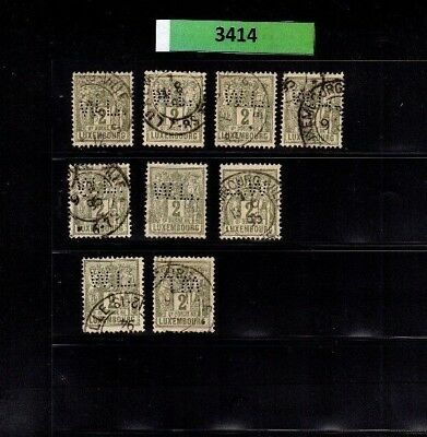 3414 Luxembourg - Allegorie Pax & Mercur lovely USED PERFIN stamps 2 Cents