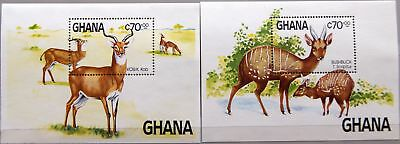 GHANA 1984 Block 111-12 S/S 931-932 Endangered Species WWF Fauna Tiere MNH