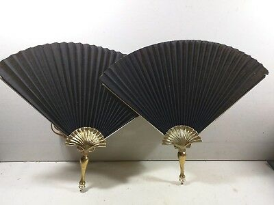 Vintage Pair Art Deco Brass Peacock Fan Wall Light Sconces Bedroom Style