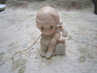 Precious Moments Ornament Babys 1st First Christmas 1986 Boy/Candy Cane/Present