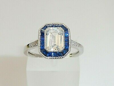 Ladies Art Deco Halo Style 925 Sterling Fine Silver Blue & White Sapphire Ring