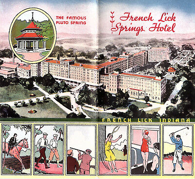 French Lick Springs Hotel Pluto Spring Vintage Brochure B&W Photos 1920s-1930s
