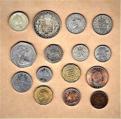 Great Britain; 15 coins w/ 1 Pound thru 1898 farthing w/ 1921 Silver Half Crown