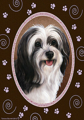 Garden Indoor/Outdoor Paws Flag - Black & White Tibetan Terrier 174781