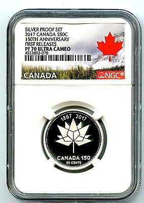 2017 Canada 150Th Annv 50 Cent Ngc Pf70 First Releases Silver Proof Half Dollar