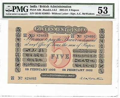 India / British Administration - 5 Rupees, 1922. PMG 53. Rare for this grade.