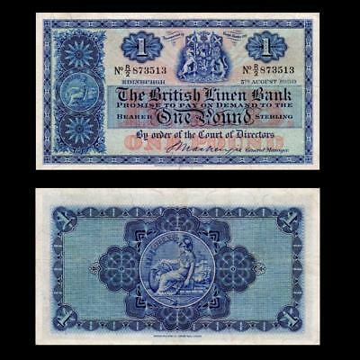 1950 Scotland British Linen Bank , £1 Large - » Cv $100 «