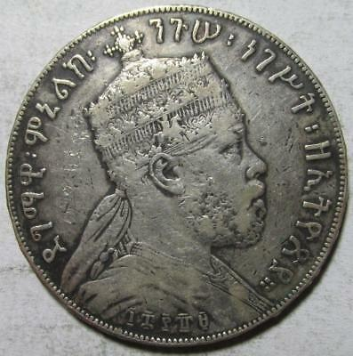 Ethiopia, Birr, EE 1889A, Fine+ Details, Cleaned, .7537 Ounce Silver