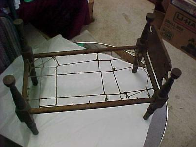 Antique Doll Bed  Wood  & String Frame  19Th Century