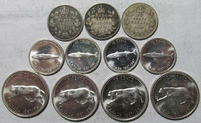 Canada Mixed Lot of 10 Cents & 25 Cents 1917-1967, 11 Pieces, .723 Ounces Silver