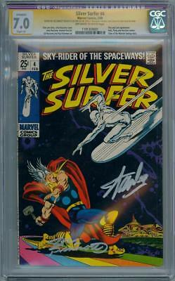 SILVER SURFER #4 CGC 7.0 SIGNATURE SERIES SIGNED x2 STAN LEE THOR MARVEL MOVIE