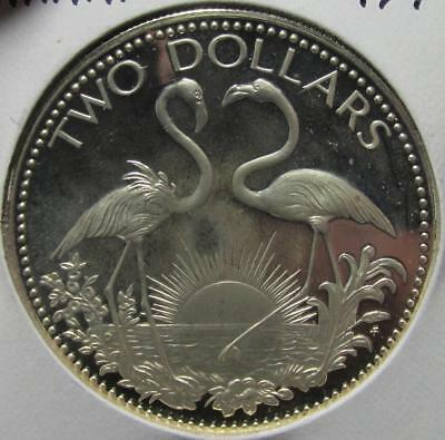 Bahamas, $2, 1974FM, Toned Proof, .8862 Ounce Silver, Flamingos