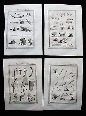 1754 BELLIN - AFRICA (WEAPONS, TOOLS, EQUIPM.): rare Lot of 4 COPPER ENGRAVINGS