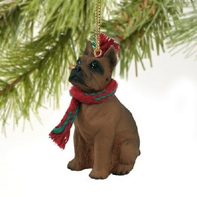 BOXER dog HAND PAINTED ORNAMENT Figurine TAWNY CROPPED resin puppy Christmas