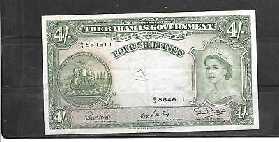 BAHAMAS #13b 1953 4 SHILLINGS VG CIRC OLD BANKNOTE PAPER MONEY CURRENCY NOTE