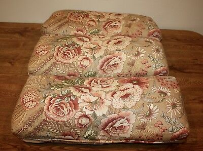 Lot Of 3 Preowned Tan/pink Floral Oblong Loveseat Pillows Ethan Allen