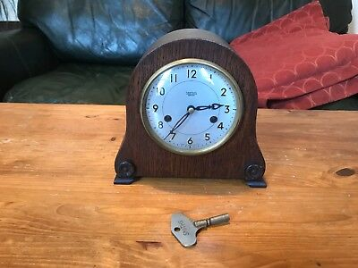 SMITHS ENFIELD MANTEL CLOCK with ORIGINAL KEY & PENDULUM  WORKING
