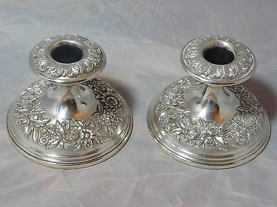 S. Kirk & Son Sterling Silver Repousse Candlesticks #109F
