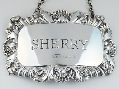 Vintage Repousse Silver Sherry Decanter Label Or Bottle Ticket Hm London 1970