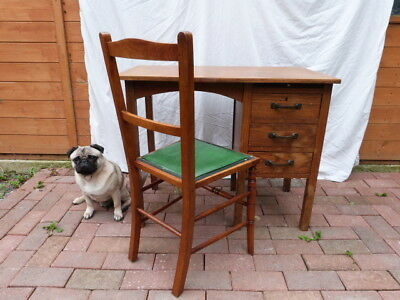 SMALL VINTAGE 1930s SINGLE PEDESTAL DESK BY PARTRIDGE & COOPER LONDON WITH CHAIR