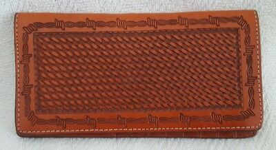 Western hand tooled leather wallet