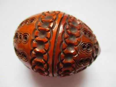 Antique Victorian Carved Coquilla Nut Pomander Egg Shape