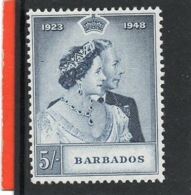 Barbados GV1 1948 Royal Silver Wedding 5s NHM