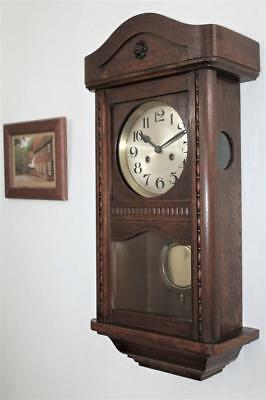 ORIGINAL ANTIQUE  OAK WALL CLOCK c1925 STRIKING HALF & FULL HOURS ON A GONG