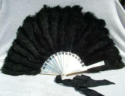 Large Antique Mother Of Pearl Sticks & Ostrich Feather Fan - Lot 2