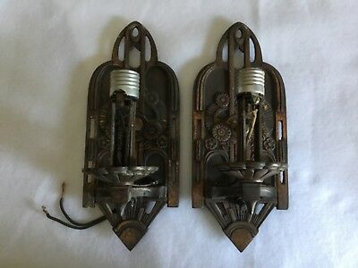 *NO RESERVE* Great Pair 1920s Antique Art Deco Signed Lightolier Wall Sconces