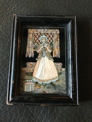 Beautiful Antique / Art Deco Butterfly Wing Crinoline Lady Framed Picture