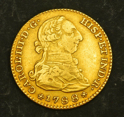 1788, Kingdom of Spain, Charles III. Spanish Gold 2 Escudos Coin. 6.66gm!
