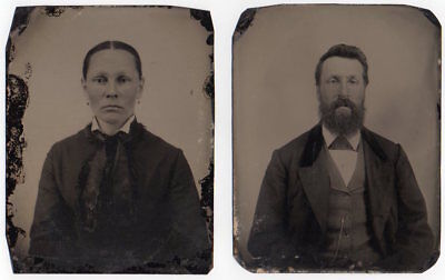 MAN & WOMAN two tintypes HALF PLATE SIZE 1860's 70's