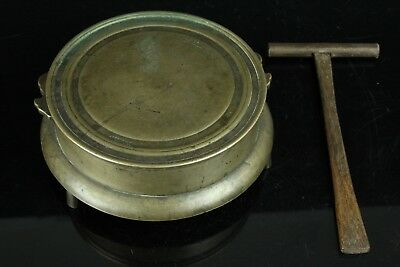 May172F Copper Gong Fusegane Temple Buddhist Alter Article Japanese W/striker