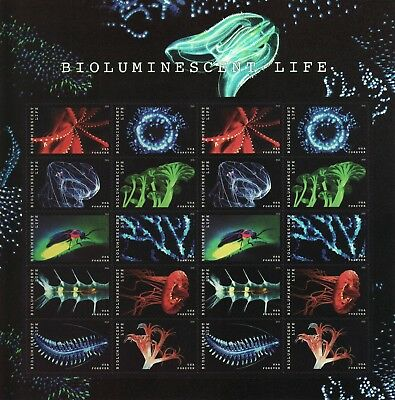 Bioluminescent  Life Stamp Sheet -- #5264-#5273 Usa Forever 2018