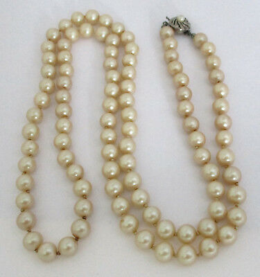 Vintage Glass Faux Pearl Bead Necklace