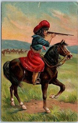 Vintage COWGIRL Western Embossed Postcard Woman w/ Rifle on Horse 1908 OK Cancel