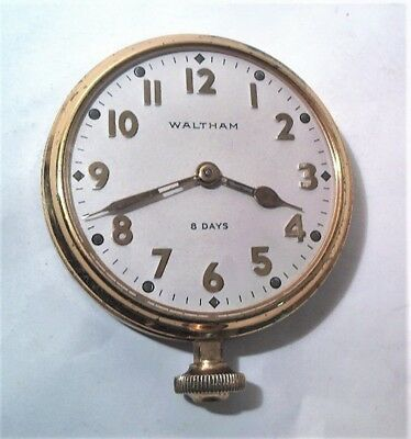 1933 Waltham Model 1926 7 Jewel 37S 8 Day Travel / Car Clock - Clean & Running