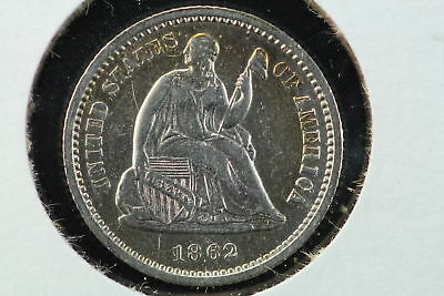 1862 Seated Liberty Half Dime AU+
