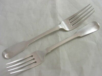 Victorian Pair Dublin 1839 Samuel Neville FIDDLE Silver Meat Forks 146 grams