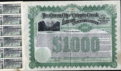 $1000 Canon City And Cripple Creek Electric Rw Co Gold Bond, 1897 + 60 Coupons