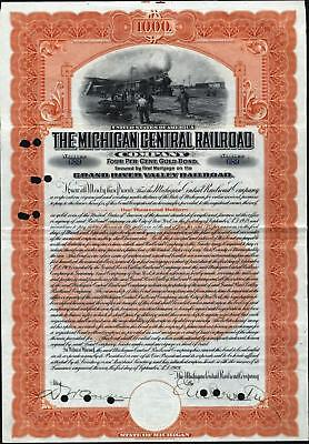$1000 Michigan Central Railroad Co Gold Bond, Grand River Valley Railroad, 1909