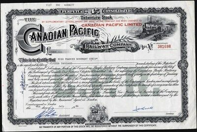 Canadian Pacific Railway Co, British American Bank Note Co Ottawa Stock Cft.