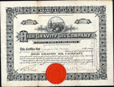 High Gravity Oil Co, 1918, Uncancelled Stock Certificate