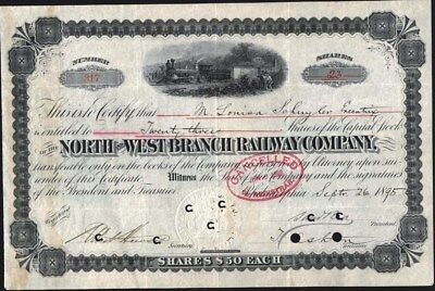 North And West Branch Railway Co, Philadelphia, 1895 Stock Certificate