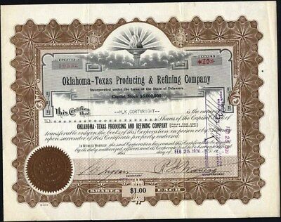 Oklahoma - Texas Producing & Refining Co, 1920 Stock Certificate