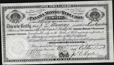 Panama Mining And Reduction Co, Clear Creek County, Co, 1883, Uncancelled Stock